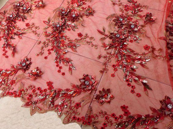 Roten 3D Blumen Perlen Pailletten Spitzen Stoff von Randyfabrics