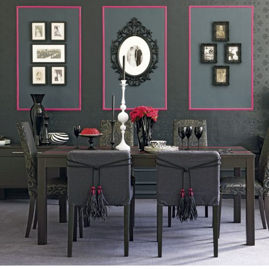 dramatic dining room pink and gray