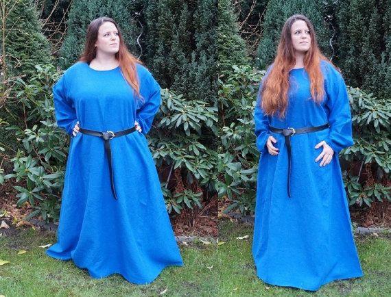 Mittelalter Kleid aus Leinen königs blau Wikinger Reenactment LARP Germanen