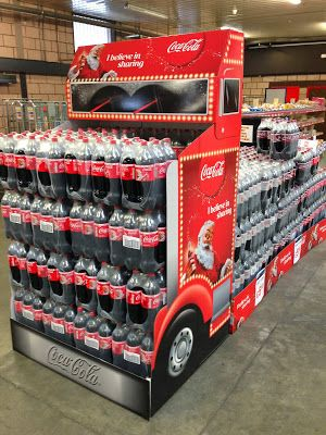 An eye catching front-of-store cash and carry pallet Coca-Cola have implemented as sales driver just in time for the Christmas period
