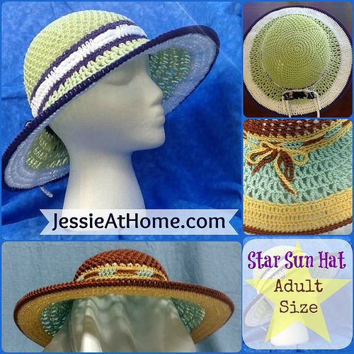 Free Crochet Summer Hat Patterns For Adults : Adult-Star-Sun-Hat Free crochet pattern. Free Crochet ...