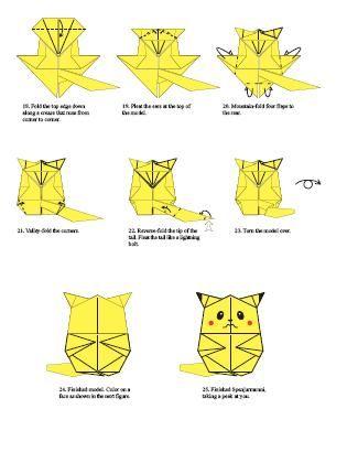 tutorial origami pikachu