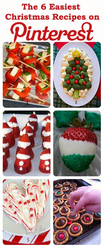 The 6 Easiest #Christmas #Recipes on Pinterest - all gluten free if you use GF pretzels for the one on the bottom right   I like to get different recipes .