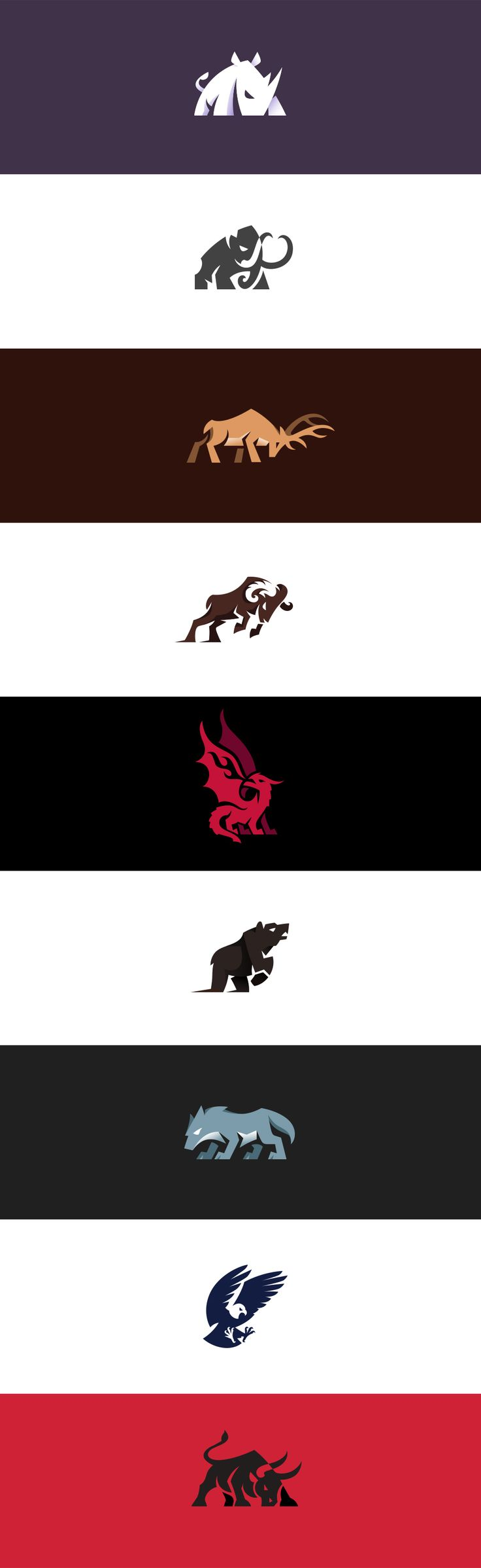 Aggressive and charging animal logos I made.