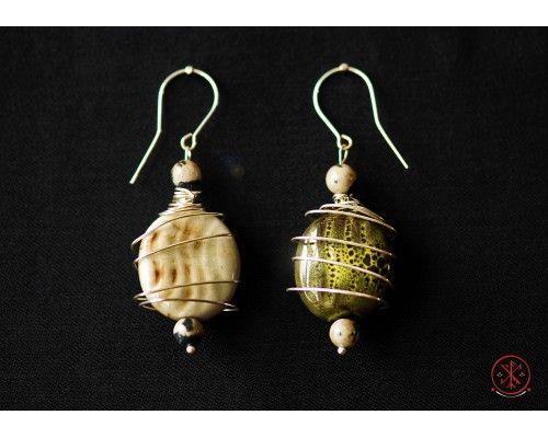 Jasper (dalmatian) and porcelain earrings