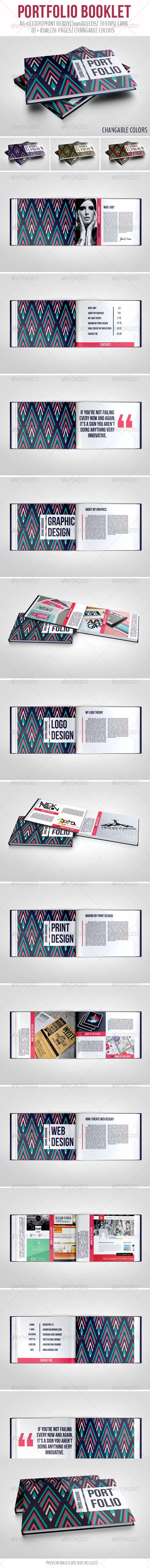 Portfolio Booklet #portfolio #brochure #print #template #abstract #indesign