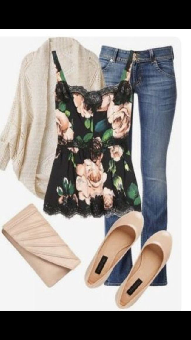 Stitch Fix Fall Fashion. Sign up today for your subscription. Get your own stylist for $20 & clothes delivered to your door. #StitchFix #Sponsored  Floral Cami tank, cardi, jeans, clutch and nude flats