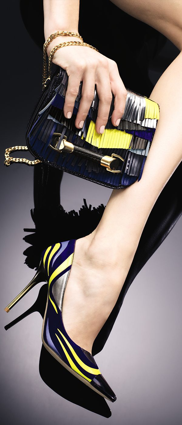 Jimmy Choo ~ Printed Suede + Leather Point-Toe Pumps + Clutch, Black 2015