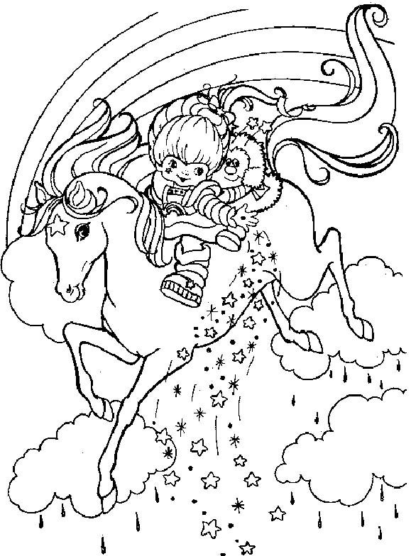 rainbow brite ridding horse coloring pages - Coloring Page Rainbow Clouds