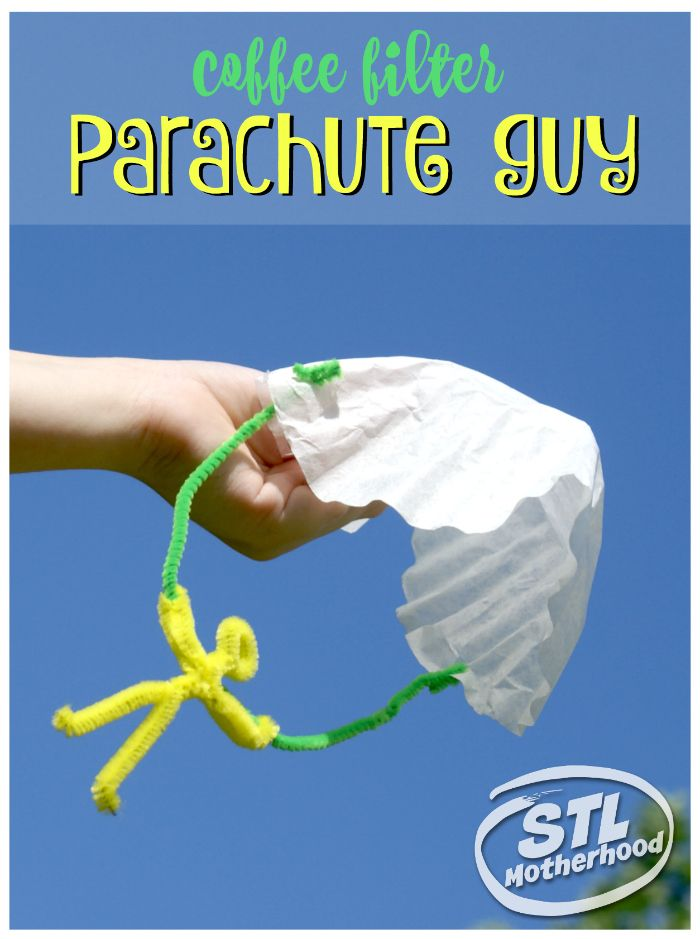 This DIY parachute guy is a perfect project to get kids outside and play! Made from coffee filters and fuzzy sticks!