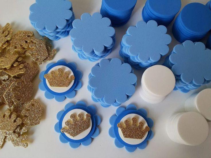kit para 50 apliques coroa princesas azul p/lembrancinhas