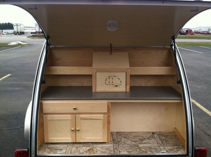18 best images about trailers on pinterest woods for Teardrop camper kitchen ideas
