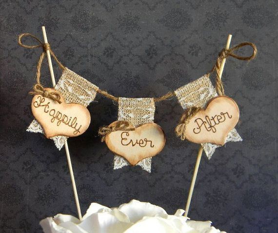 Happily Ever After Cake Topper Burlap  Lace Bunting Flags Banner Wood Hearts Rustic Country Shabby Chic on Etsy, $26.00