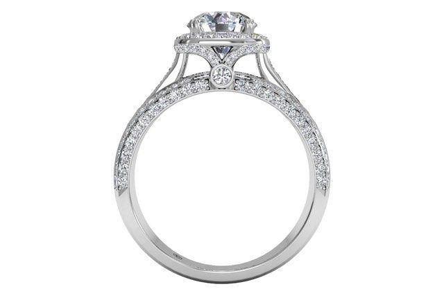 Round Cut Masterwork Cushion Halo Triple Diamond Band Engagement Ring with Surprise Diamonds in Palladium 0.75 CTW - Frontview1?w=640&h=430&fit=fill&fm=jpg&q=65&bg=fff