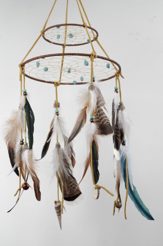 Large Mobile Dreamcatcher, Big Dream Catcher Mobile, Brown Feather Mobile, Boho Mobile, Rustic Bedroom Decor, Nursery Mobile