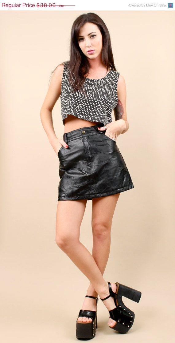 80s 90s vtg club kid leather grunge micro mini skirt