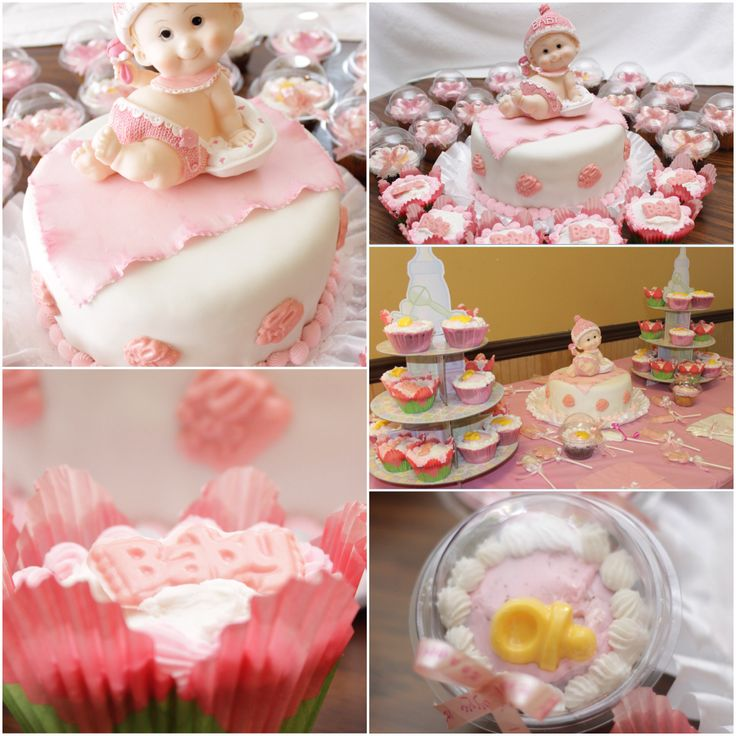 It 39 s a girl baby shower cake cupcakes and decoration for Baby cake decoration