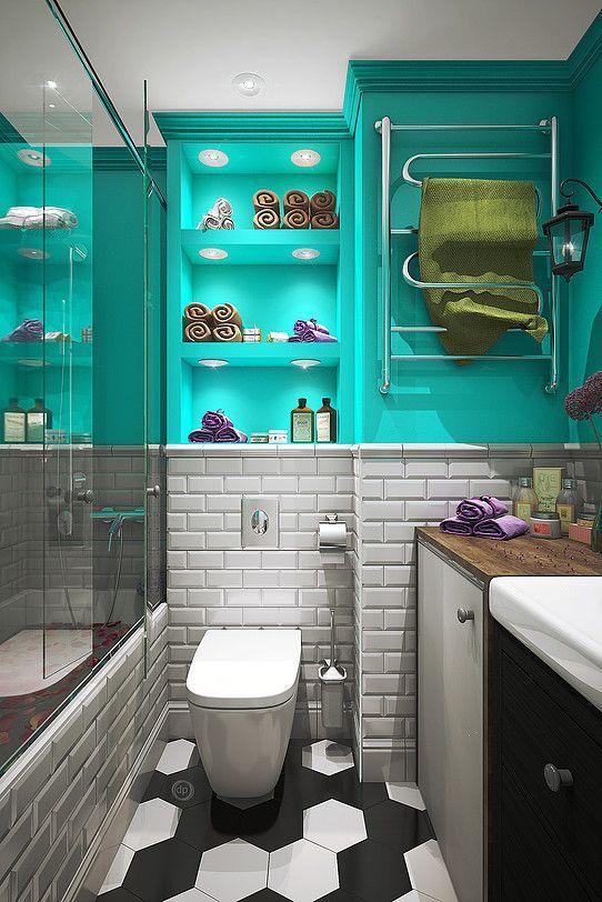 Дизайн интерьера квартир в Москве | dp-Interior #проект #квартира #интерьер #ванна #кабанчик #плитка #бирюза #bathroom #design #interior
