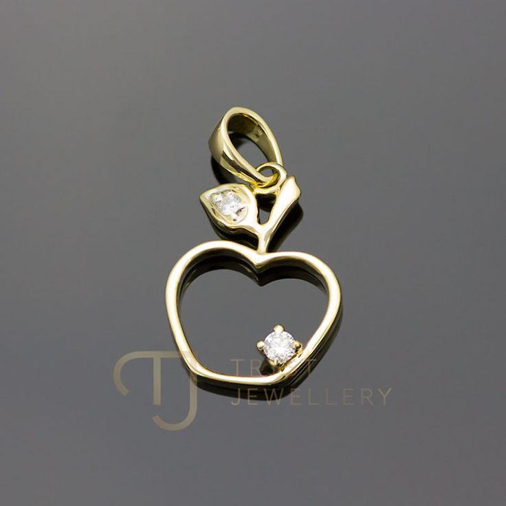 9Ct Gold Apple pendant with Diamonds $230 Available with a 9Ct gold Italian necklace in various lengths FREE Postage for Asutralia!  http://trystjewellery.com/Diamonds/9Kt-9Ct-YELLOW-GOLD-VVS-Diamond-Apple-Pendant-Italy-Necklace-Option-GENUINE-D9