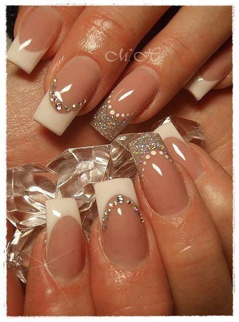Wedding nails - too square and too curved at the same time... but like the design