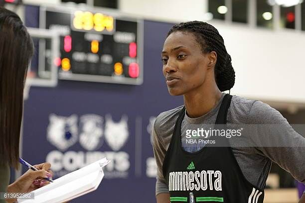 Sylvia Fowles of the Minnesota Lynx talks to the media during practice at the Courts at Mayo Clinic Square in Minneapolis Minnesota on October 8 2016...
