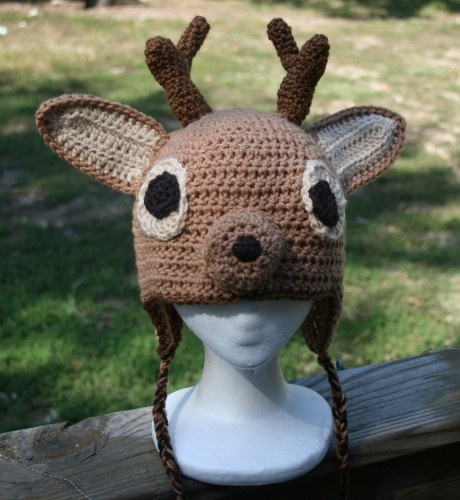 Deer With Antler Crochet Earflap Hat Crochet Hats With