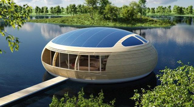 Future Technology Concept Of Eco Friendly Floating House