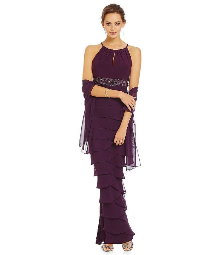 JESSICA HOWARD 12 Plum Tiered Embellished Long Dress W/ Shawl *NWT $168 #JessicaHoward #Tiered #Formal