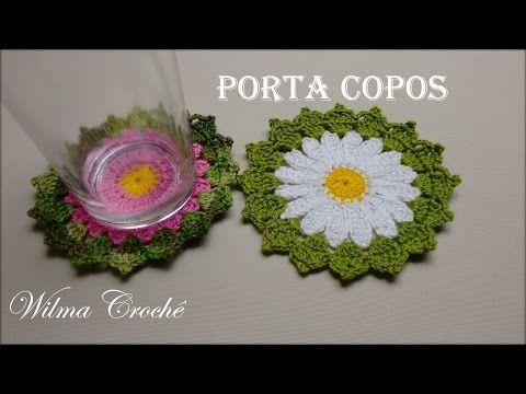 Porta Copos de Crochê - Crochê Para Aplicação - YouTube