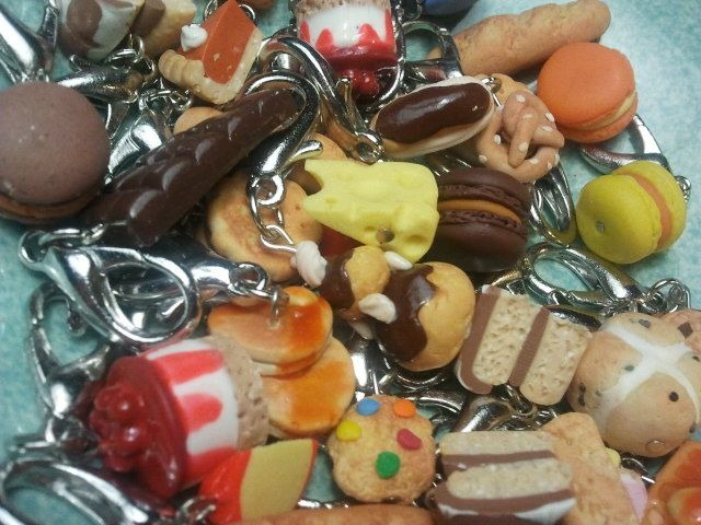 Miniature handmade polymer clay food jewellery...earrings, rings, necklaces, charms, bookmarks, etc