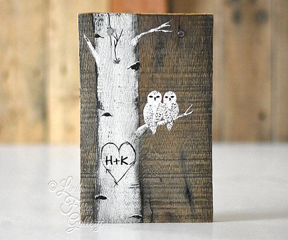 Snowy Owl Painting Wood 5th Anniversary Gift by LindaFehlenGallery