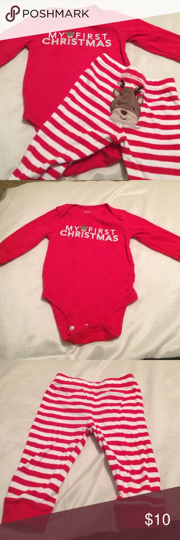 My first Christmas outfit Gender neutral Christmas outfit- long sleeve onesie with pants Carter's Matching Sets
