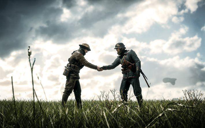 Battlefield 1, soldiers, handshake, shooter
