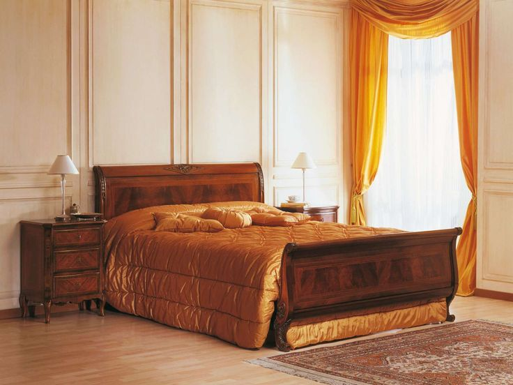 French style bedroom of the Nineteenth Century with bed and night tables inlaid walnut