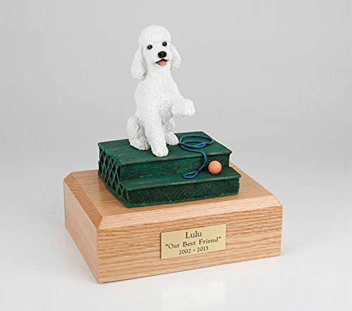 GENUINE North American Hardwood and Poodle on Step Sport Cut Dog Figurine Urn White Large -- Continue to the product at the image link. (This is an affiliate link and I receive a commission for the sales)