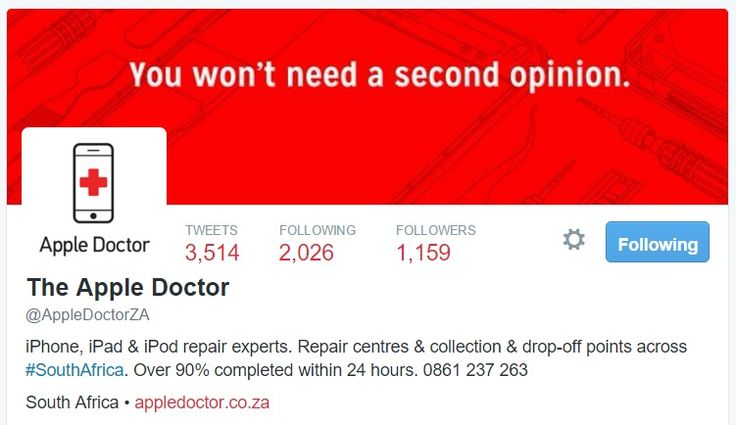 Be sure to follow Apple Doctor on Twitter for tips, tricks, articles and the latest Apple news. We're always available to chat or assist. www.twitter.com/AppleDoctorZA
