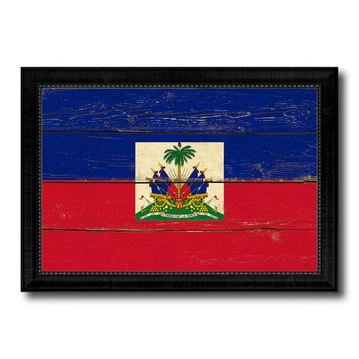 Haiti Country Flag Vintage Canvas Print with Black Picture Frame Home Decor Gifts Wall Art Decoration Artwork