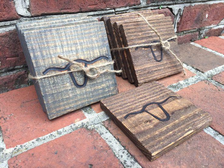 Reclaimed Wood Pallet Drink Coasters Handmade Longhorn Branded Rustic 4-Pack by LonghornCowboy on Etsy https://www.etsy.com/listing/473264852/reclaimed-wood-pallet-drink-coasters