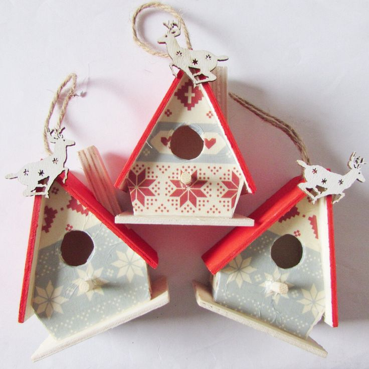 Christmas decorations, Nordic Christmas decorations, Scandinavian decorations, Nordic Christmas, mini birdhouse decorations, Xmas decs by CopperFoxCo on Etsy https://www.etsy.com/listing/256670324/christmas-decorations-nordic-christmas