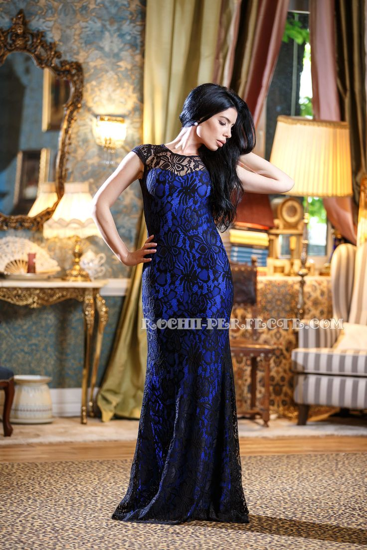beautiful long blue lace dress