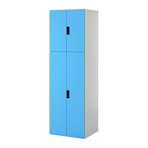 STUVA Storage combination with doors IKEA You can keep both hanging and folded clothes in this wardrobe, since it has a clothes rail and shelves.