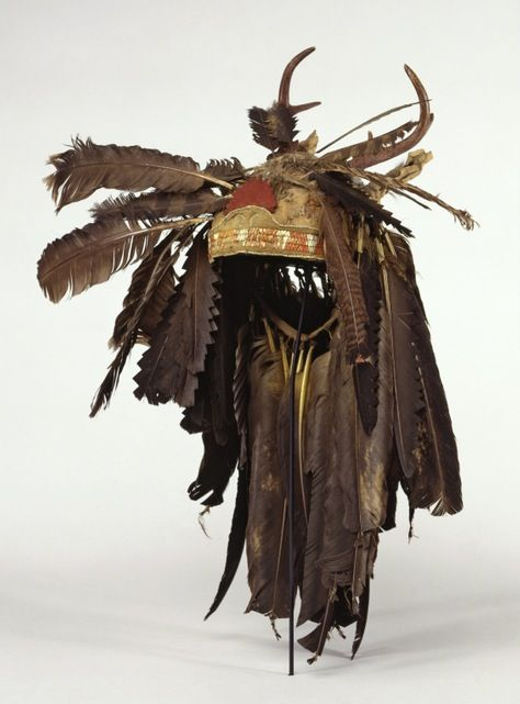 """... late 18th-century Haudenosaunee (Iroquois) headdress ...""  The antlers would mean that the wearer was the chief of his clan or a representative to one of the 50 Council fires.  Women selected the chiefs."