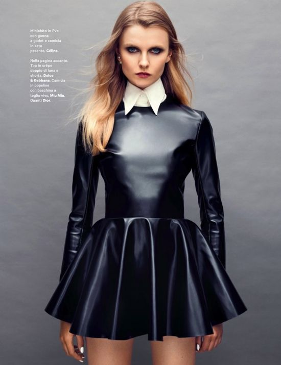 Beautiful black leather dress; material can be purchase at http://www.mjtrends.com/categories-Faux-Leather,Fabric