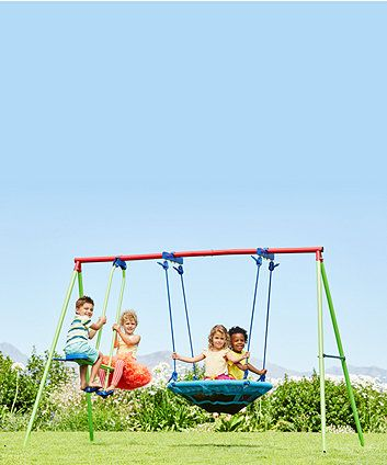 Why go to the park to play when you can have fun with this saucer and see saw set in your own back garden