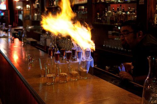Flaming Dr. Pepper.