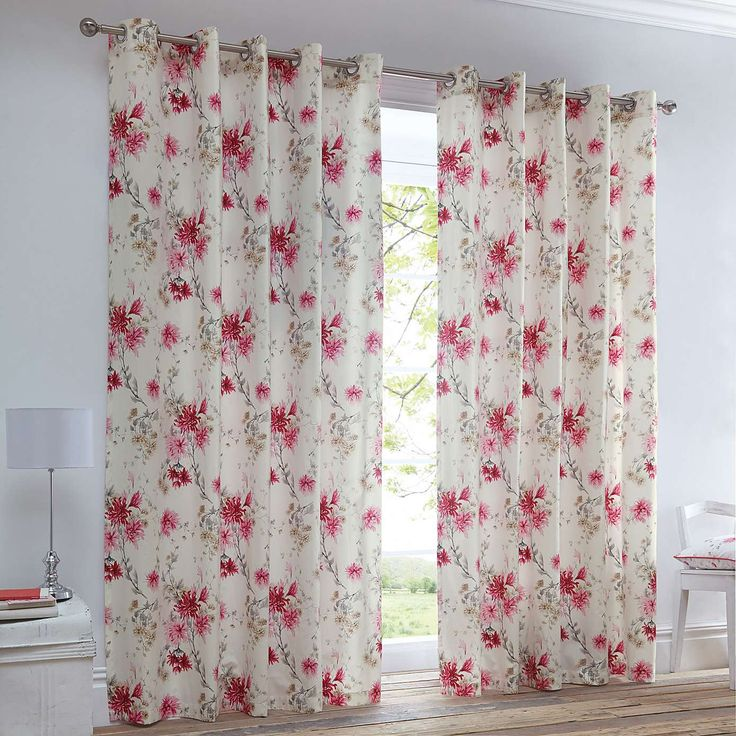 Analise Pink Eyelet Curtains | Dunelm
