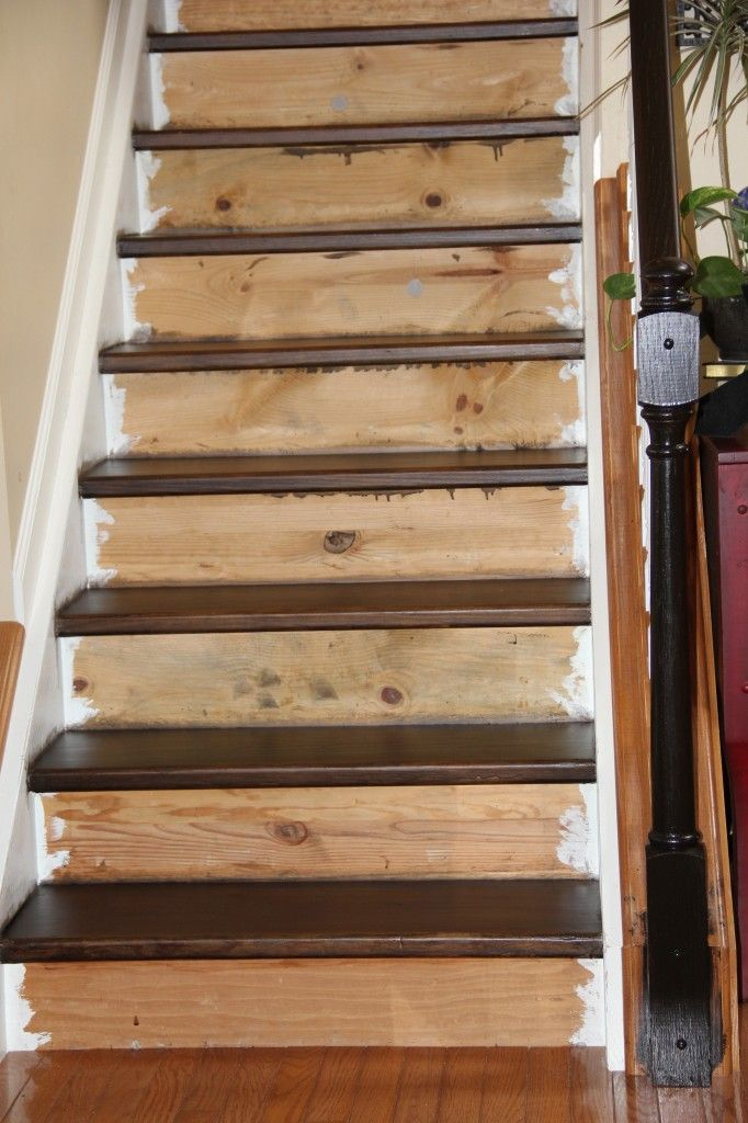 How To Stain Pine Stairs Painted Stairs Pine Stair Treads | Staining Pine Stair Treads | Painting | White Pine | Wooden | Tile | Stained White Oak