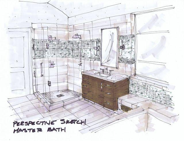design plan for modern bathroom interior renderinginterior sketchinterior