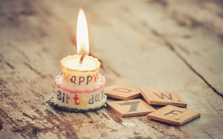Download wallpapers Happy Birthday, burning candle, cake, fire, flame, birthday decoration, congratulations