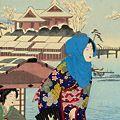 周延「隅田堤の雪景」